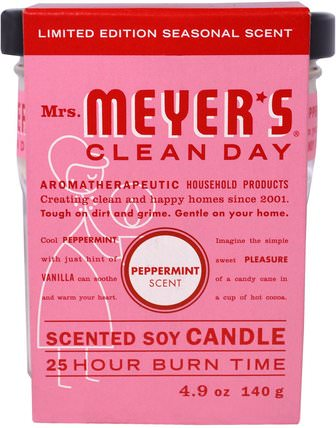Scented Soy Candle, Peppermint, 4.9 oz (140 g) by Mrs. Meyers Clean Day, 洗澡,美容,蠟燭 HK 香港