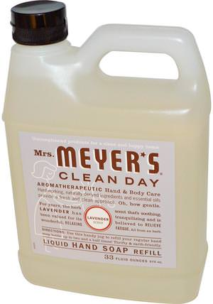 Liquid Hand Soap Refill, Lavender Scent, 33 fl oz (975 ml) by Mrs. Meyers Clean Day, 洗澡,美容,肥皂,筆芯 HK 香港