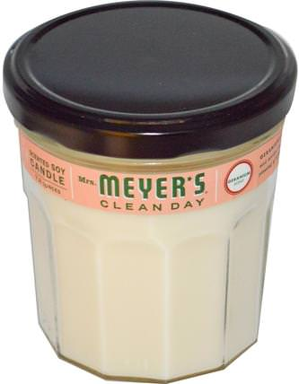 Scented Soy Candle, Geranium Scent, 7.2 oz by Mrs. Meyers Clean Day, 洗澡,美容,蠟燭 HK 香港