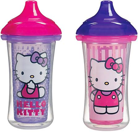 Hello Kitty, Insulated Sippy Cups, 2 Cups, 9 oz (266 ml) Each by Munchkin, 兒童健康,兒童食品,廚具,杯碟碗 HK 香港