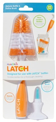 Latch, Deluxe Bottle & Valve Brush, 1 Brush by Munchkin, 兒童健康,兒童食品,廚具,洗碗刷和海綿 HK 香港