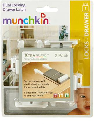 XtraGuard Dual Locking Drawer Latch, 2 Pack by Munchkin, 兒童健康,嬰兒,兒童,munchkin childproofing HK 香港