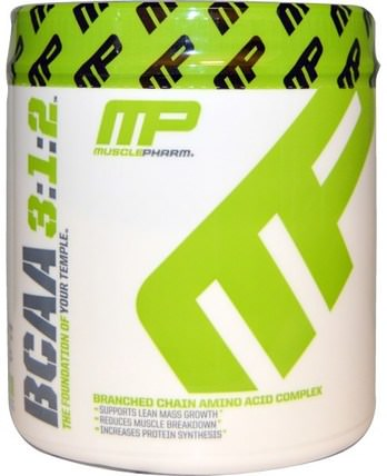 MusclePharm, BCAA 3:1:2, Unflavored Powder, 0.39 lbs (180 g) 補充劑,氨基酸,bcaa(支鏈氨基酸),運動,鍛煉