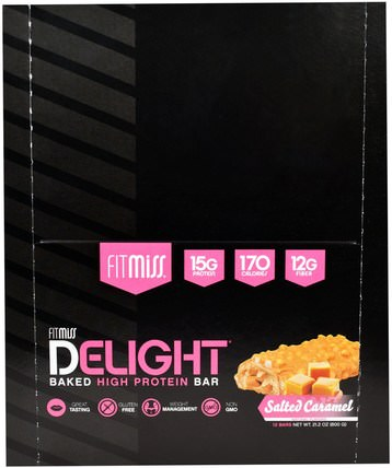 Fit Miss Delight, Baked High Protein Bar, Salted Caramel, 12 Bars, 21.2 oz (600 g) by FitMiss, 運動,肌肉 HK 香港