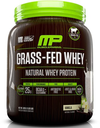 MusclePharm Natural, Grass-Fed Whey, Natural Whey Protein Powder Drink Mix, Vanilla, 0.93 lbs (420 g) 運動,補品,蛋白質