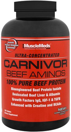 Carnivor Beef Aminos, 100% Pure Beef Protein, 300 Tablets by MuscleMeds, 補充劑,氨基酸,氨基酸組合,合成代謝補品 HK 香港