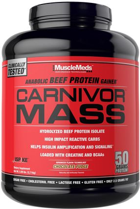 Carnivor Mass, Anabolic Beef Protein Gainer, Chocolate Fudge, 5.99 lbs (2.716 g) by MuscleMeds, 補充劑,合成代謝補品,蛋白質 HK 香港