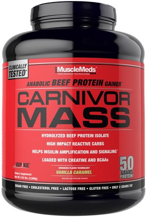 Carnivor Mass, Anabolic Beef Protein Gainer, Vanilla Caramel, 5.93 lbs (2.688 g) by MuscleMeds, 補充劑,合成代謝補品,蛋白質 HK 香港