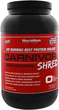 MuscleMeds, Carnivor Shred, Chocolate, 2.28 lbs (1.036 g) 補充劑,蛋白質
