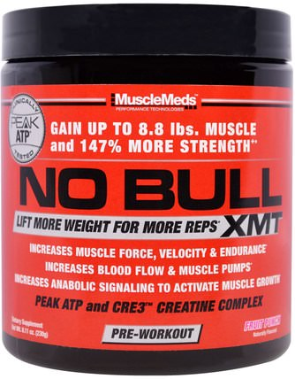 No Bull, XMT, Pre-Workout, Fruit Punch, 8.11 oz (230 g) by MuscleMeds, 運動,鍛煉,肌肉 HK 香港
