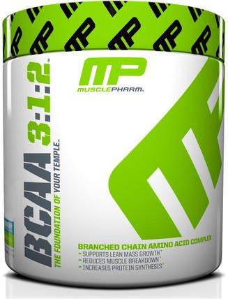 MusclePharm, BCAA 3:1:2, Blue Raspberry, 0.5 lbs (225 g) 補充劑,氨基酸,bcaa(支鏈氨基酸),運動,鍛煉
