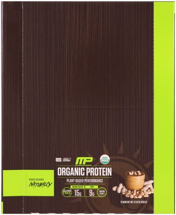 Organic Protein Bar, Peanut Butter, 12 Bars, 21.20 oz (600 g) by MusclePharm Natural, 運動,補品,蛋白質 HK 香港