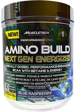 Amino Build Next Gen BCAA Formula With Betaine Energized, Blue Raspberry, 9.96 oz (282 g) by Muscletech, 補充劑,氨基酸,運動,bcaa(支鏈氨基酸) HK 香港