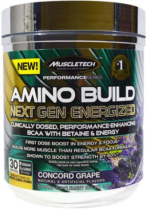 Amino Build Next Gen BCAA Formula With Betaine Energized, Concord Grape, 9.86 oz (280 g) by Muscletech, 補充劑,氨基酸,運動,bcaa(支鏈氨基酸) HK 香港