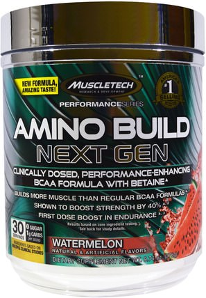 Amino Build Next Gen BCAA Formula With Betaine, Watermelon, 9.74 oz (276 g) by Muscletech, 補充劑,氨基酸,運動,bcaa(支鏈氨基酸) HK 香港