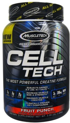 Cell Tech, The Most Powerful Creatine Formula, Fruit Punch, 3.09 lbs (1.40 kg) by Muscletech, 運動,肌酸 HK 香港