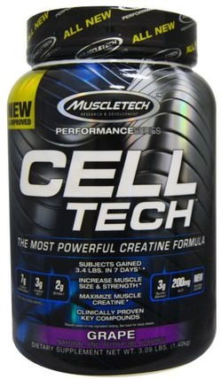 Cell Tech, The Most Powerful Creatine Formula, Grape, 3.09 lbs (1.40 kg) by Muscletech, 運動,肌酸 HK 香港