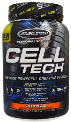 Cell Tech, The Most Powerful Creatine Formula, Orange, 3.09 lbs (1.40 kg) by Muscletech, 運動,肌酸 HK 香港