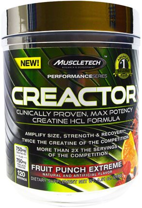 Creactor, Fruit Punch Extreme, 9.51 oz (269 g) by Muscletech, 運動,肌酸 HK 香港