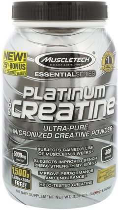 Essential Series, Platinum 100% Micronized Creatine, Unflavored, 3.31 lbs (1.50 kg) by Muscletech, 運動,肌酸 HK 香港