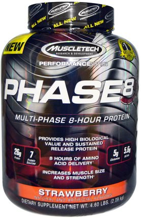 Performance Series, Phase8, Multi-Phase 8-Hour Protein, Strawberry, 4.60 lbs (2.09 kg) by Muscletech, 運動,鍛煉 HK 香港