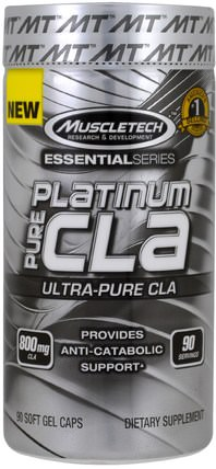 Platinum, Pure CLA, 90 Soft Gel Caps by Muscletech, 減肥,飲食,運動 HK 香港