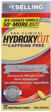 Muscletech, Pro-Clinical Hydroxycut, 99% Caffeine Free, 72 Rapid Release Caplets 減肥,飲食,運動