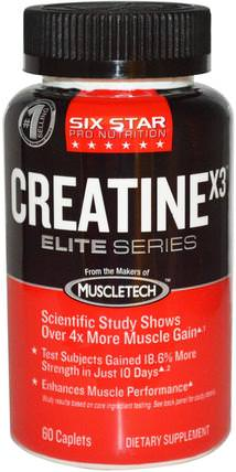 Six Star Pro Nutrition, Creatine X3, Elite Series, 60 Caplets by Six Star, 運動,肌酸 HK 香港