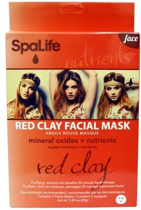 Red Clay Facial Mask, Face, 3 Facial Masks, 2.43 oz (69 g) by My Spa Life, 美容,面膜,面膜,泥面膜 HK 香港