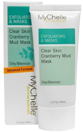 MyChelle Dermaceuticals, Exfoliators & Masks, Clear Skin Cranberry Mud Mask, Oily/Blemish, 1.2 fl oz (35 ml) 健康,粉刺,皮膚類型痘痘皮膚,美容,面部護理,皮膚類型組合到油性皮膚