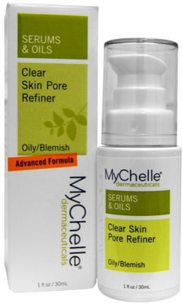 Serums & Oils, Clear Skin Pore Refiner, Oily/Blemish, 1 fl oz (30 ml) by MyChelle Dermaceuticals, 美容,面部護理,皮膚類型組合到油性皮膚,面霜乳液,血清 HK 香港