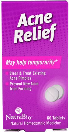 Acne Relief, 60 Tablets by NatraBio, 健康,痤瘡 HK 香港