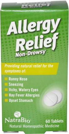 Allergy Relief, Non-Drowsy, 60 Tablets by NatraBio, 健康,過敏,過敏 HK 香港