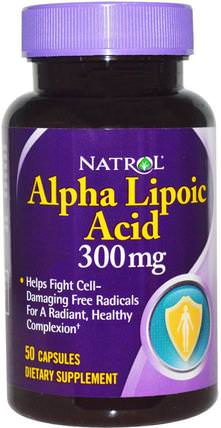 Alpha Lipoic Acid, 300 mg, 50 Capsules by Natrol, 補充劑,抗氧化劑,α硫辛酸,α硫辛酸300毫克 HK 香港