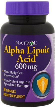 Alpha Lipoic Acid, 600 mg, 30 Capsules by Natrol, 補充劑,抗氧化劑,α硫辛酸,α硫辛酸600毫克 HK 香港