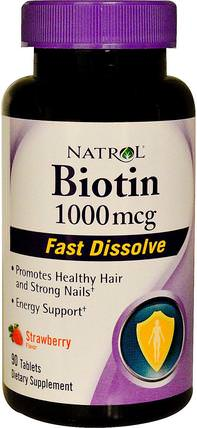 Biotin, Fast Dissolve, Strawberry Flavor, 1.000 mcg, 90 Tablets by Natrol, 維生素,維生素B,生物素 HK 香港