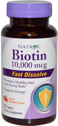 Biotin, Natural Strawberry Flavor, 10.000 mcg, 60 Tablets by Natrol, 維生素,維生素B,生物素 HK 香港