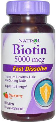Biotin, Strawberry Flavor, 5000 mcg, 90 Tablets by Natrol, 維生素,生物素 HK 香港