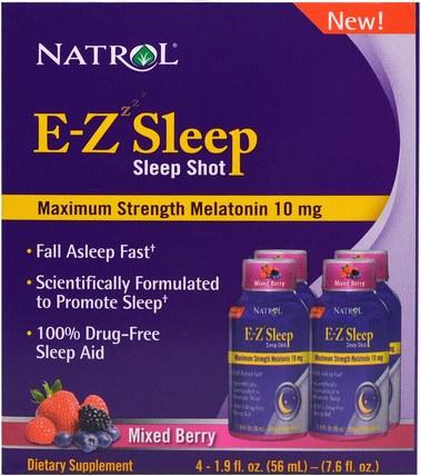 Natrol, E-Z Sleep, Sleep Shot, Maximum Strength Melatonin, Mixed Berry, 4 Pack, 1.9 oz (56 ml) 補充劑,睡眠,褪黑激素