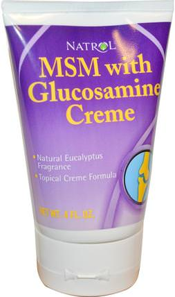 MSM with Glucosamine Creme, 4 fl oz by Natrol, 補充劑,氨基葡萄糖,關節炎 HK 香港