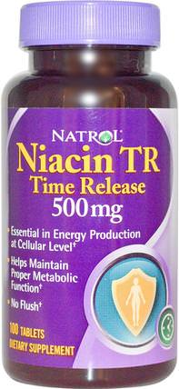 Niacin TR, Time Release, 500 mg, 100 Tablets by Natrol, 維生素,維生素B,維生素b3,維生素b3 - 菸酸沖洗 HK 香港