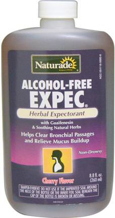 Alcohol-Free Expec, Cherry Flavor, 8.8 fl oz (260 ml) by Naturade, 健康,肺和支氣管,補充劑,癒創甘油醚 HK 香港