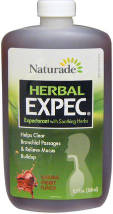 Herbal Expec, Natural Cherry Flavor, 8.8 fl oz (260 ml) by Naturade, 健康,肺和支氣管,補充劑,癒創甘油醚 HK 香港