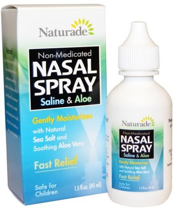 Nasal Spray, Saline & Aloe, 1.5 fl oz (45 ml) by Naturade, 健康,鼻腔健康,鼻腔噴霧劑 HK 香港