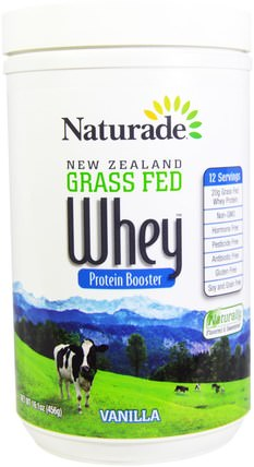 New Zealand Grass Fed Whey Protein Booster, Vanilla, 16.1 oz (456 g) by Naturade, 補充劑,乳清蛋白 HK 香港