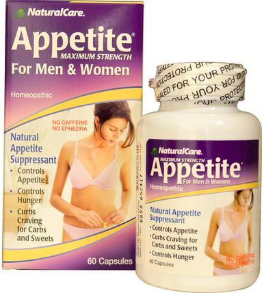 Appetite, Maximum Strength, For Men & Women, No Caffeine, 60 Capsules by Natural Care, 健康,飲食,補品,順勢療法婦女 HK 香港