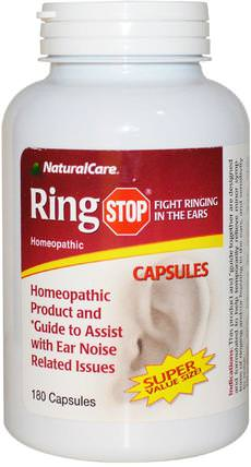 Ring Stop, 180 Capsules by Natural Care, 補品,順勢療法,聽力和耳鳴,耳朵和聽力產品 HK 香港