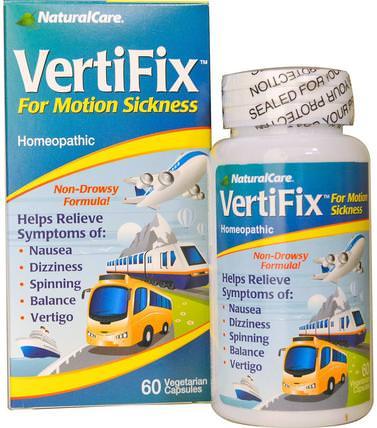 VertiFix, For Motion Sickness, 60 Veggie Caps by Natural Care, 健康,注意力缺陷障礙,添加,adhd,腦,長春西汀,噁心緩解 HK 香港