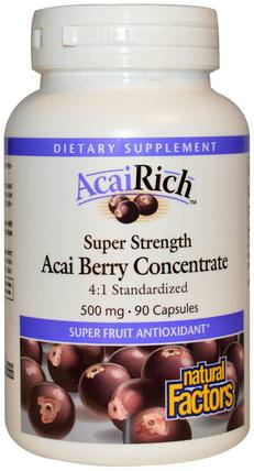 AcaiRich, Acai Berry Concentrate, 500 mg, 90 Capsules by Natural Factors, 補品,水果提取物,超級水果,阿薩膠囊軟膠囊 HK 香港