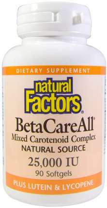 BetaCareAll, 25.000 IU, 90 Softgels by Natural Factors, 維生素,維生素A,β胡蘿蔔素,補充劑,類胡蘿蔔素,混合類胡蘿蔔素複合物 HK 香港
